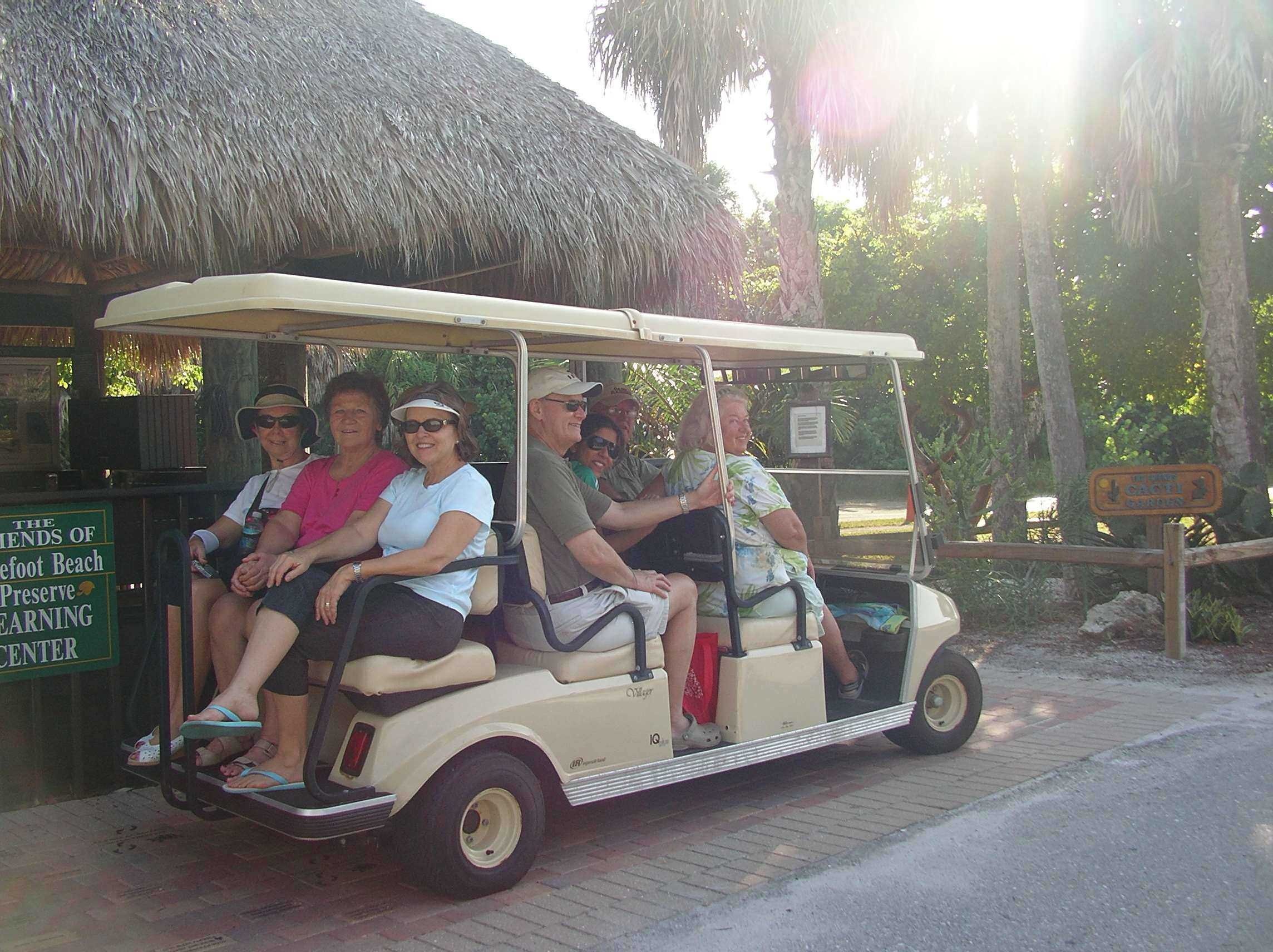 nature walk on golf cart leaves learning center during Green